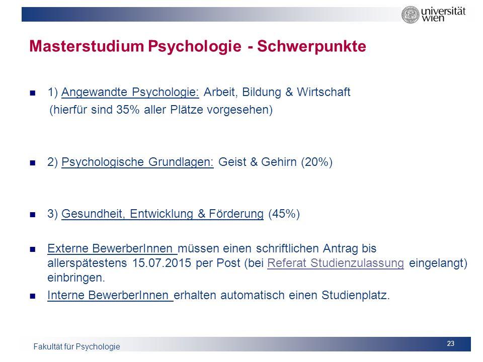 Masterstudium Psychologie - Schwerpunkte