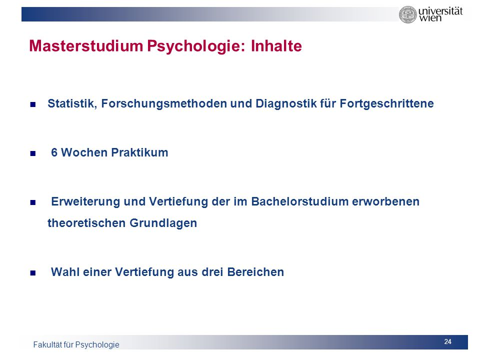 Masterstudium Psychologie: Inhalte