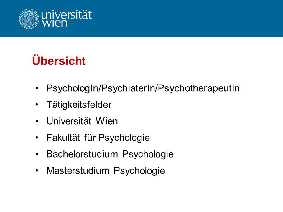 Übersicht PsychologIn/PsychiaterIn/PsychotherapeutIn Tätigkeitsfelder
