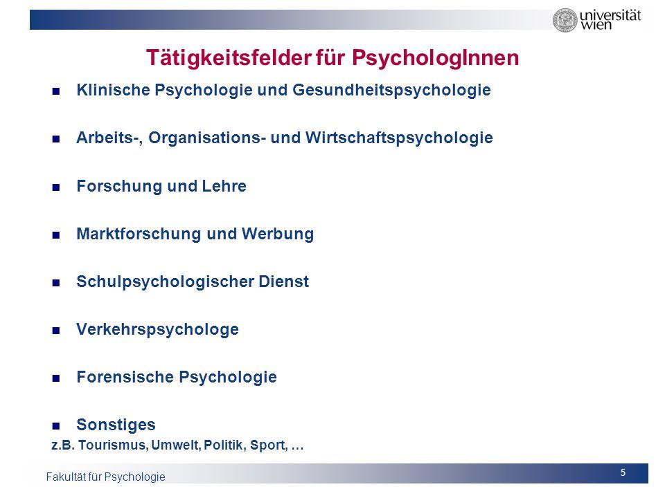 Tätigkeitsfelder für PsychologInnen
