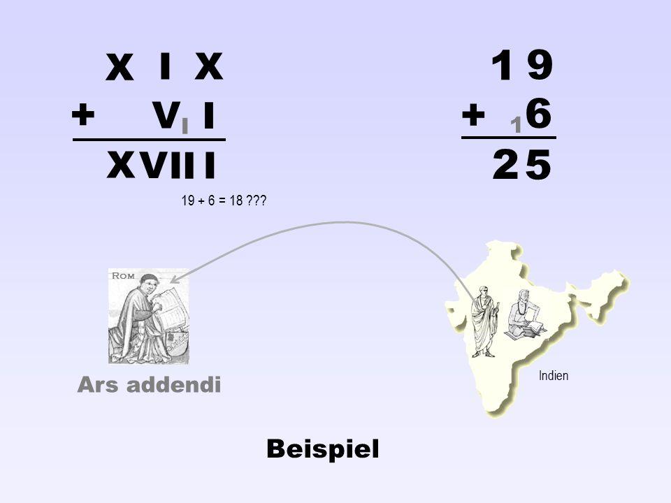 1 9 + + 6 2 5 X I X V I X V I I I Beispiel I 1 Ars addendi