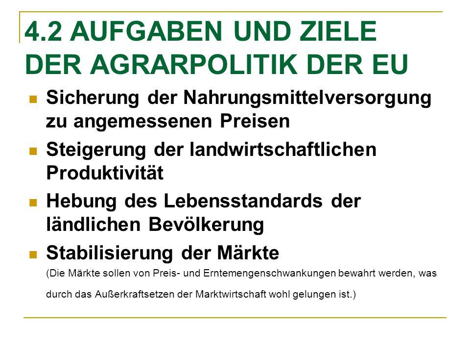 4.2 AUFGABEN UND ZIELE DER AGRARPOLITIK DER EU
