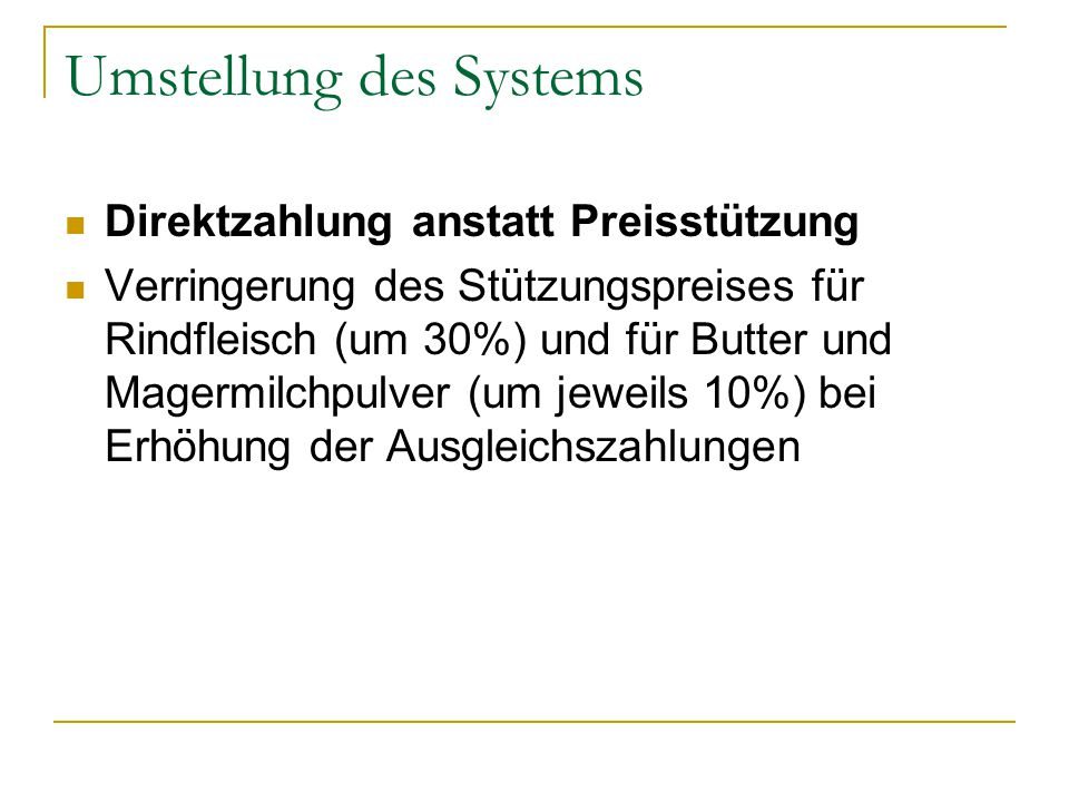 Umstellung des Systems