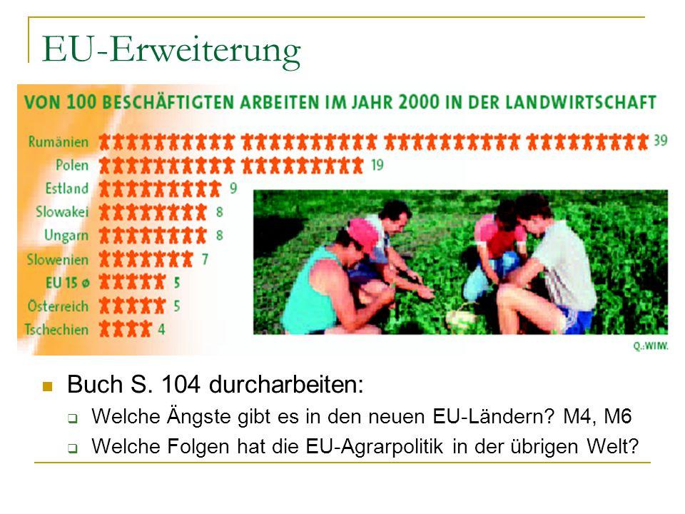 EU-Erweiterung Buch S. 104 durcharbeiten: