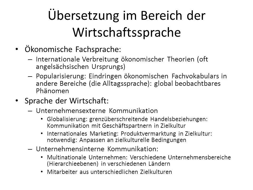 Übersetzung im Bereich der Wirtschaftssprache
