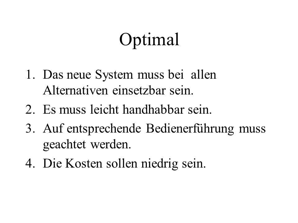 Optimal Das neue System muss bei allen Alternativen einsetzbar sein.