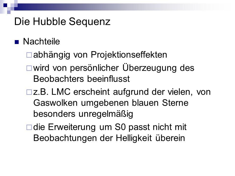Die Hubble Sequenz Nachteile abhängig von Projektionseffekten