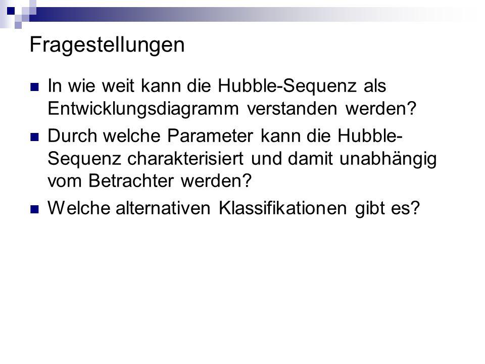 Fragestellungen In wie weit kann die Hubble-Sequenz als Entwicklungsdiagramm verstanden werden