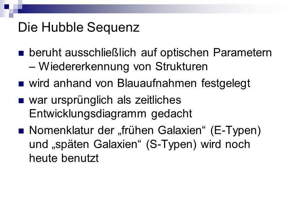 Die Hubble Sequenz beruht ausschließlich auf optischen Parametern – Wiedererkennung von Strukturen.