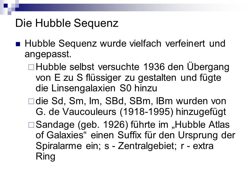 Die Hubble Sequenz Hubble Sequenz wurde vielfach verfeinert und angepasst.