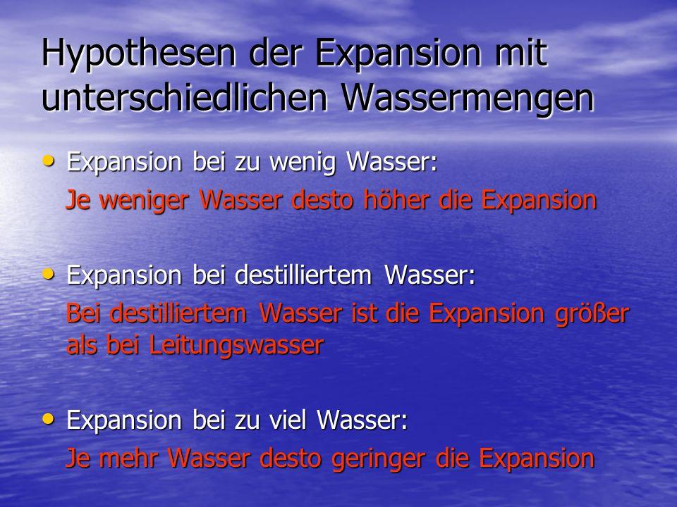 Hypothesen der Expansion mit unterschiedlichen Wassermengen