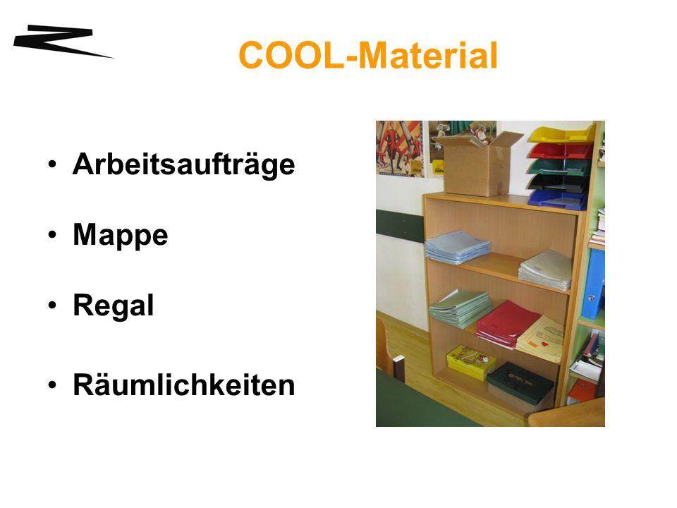 COOL-Material Arbeitsaufträge Mappe Regal Räumlichkeiten