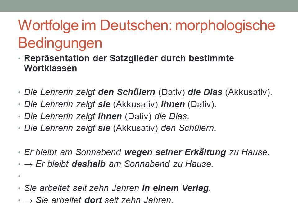 Wortfolge im Deutschen: morphologische Bedingungen