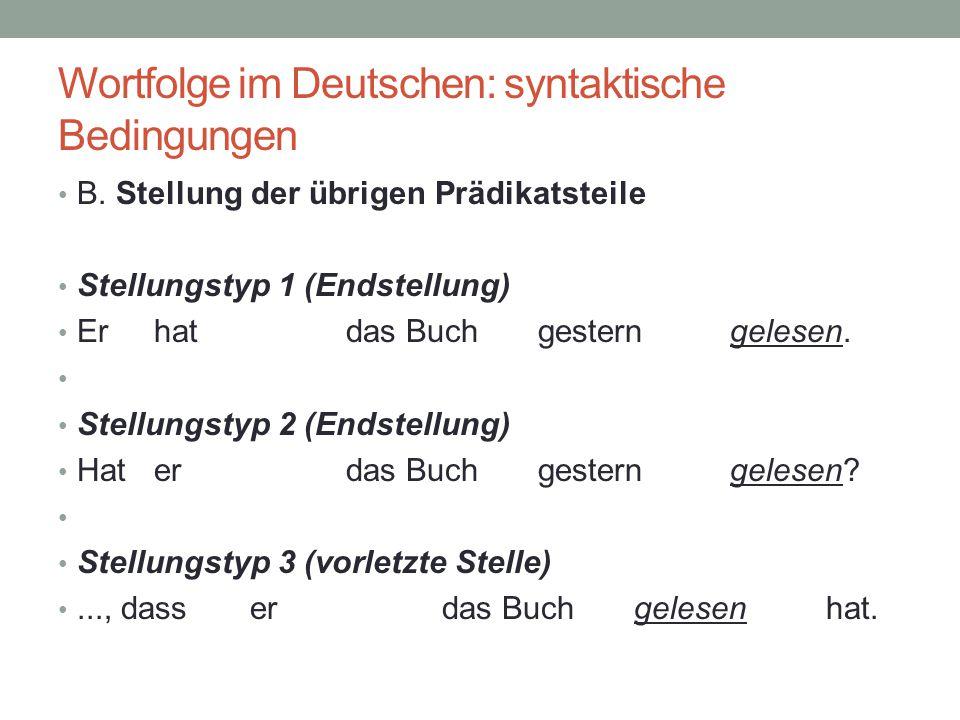 Wortfolge im Deutschen: syntaktische Bedingungen