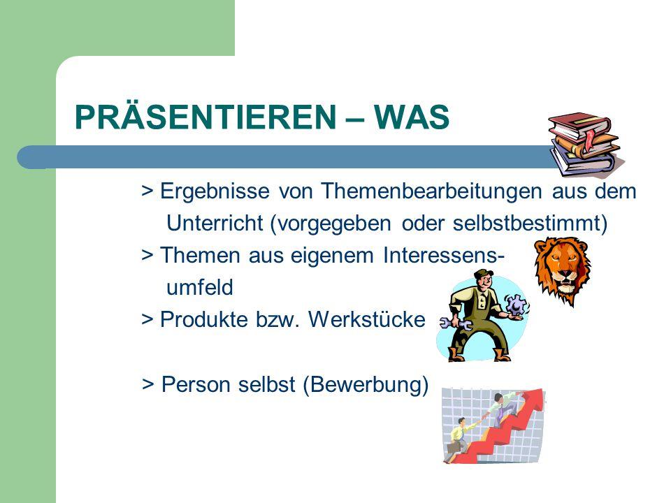 PRÄSENTIEREN – WAS > Ergebnisse von Themenbearbeitungen aus dem
