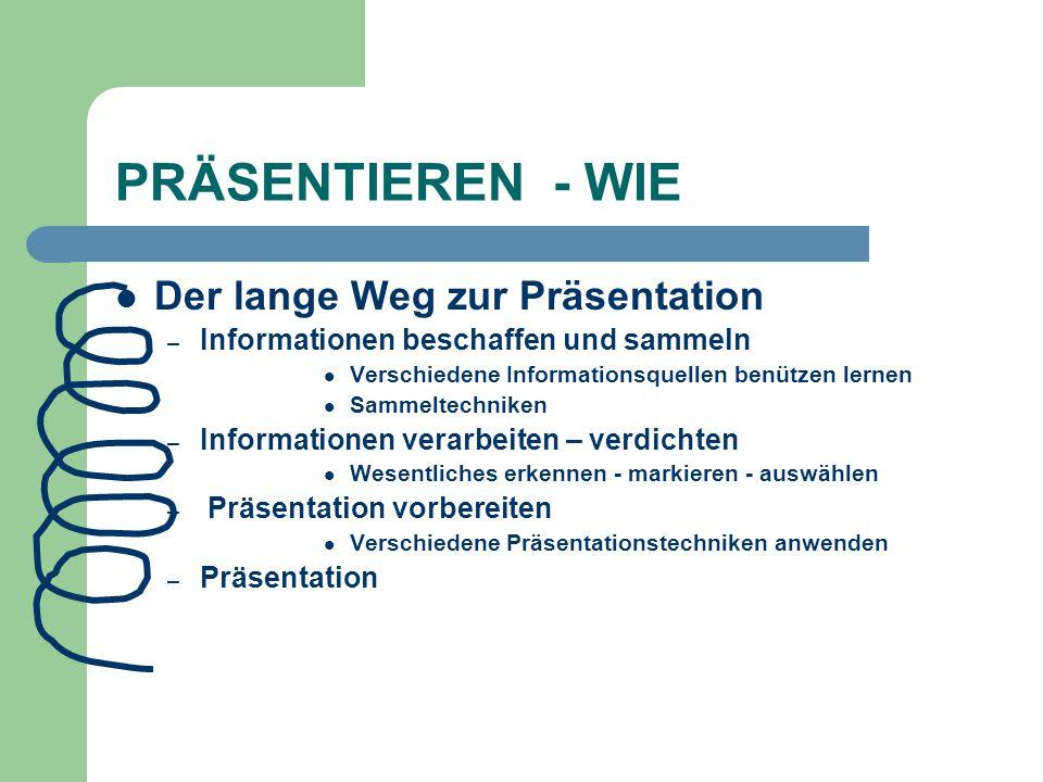 PRÄSENTIEREN - WIE Der lange Weg zur Präsentation