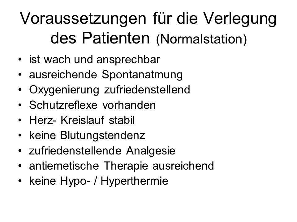 Voraussetzungen für die Verlegung des Patienten (Normalstation)