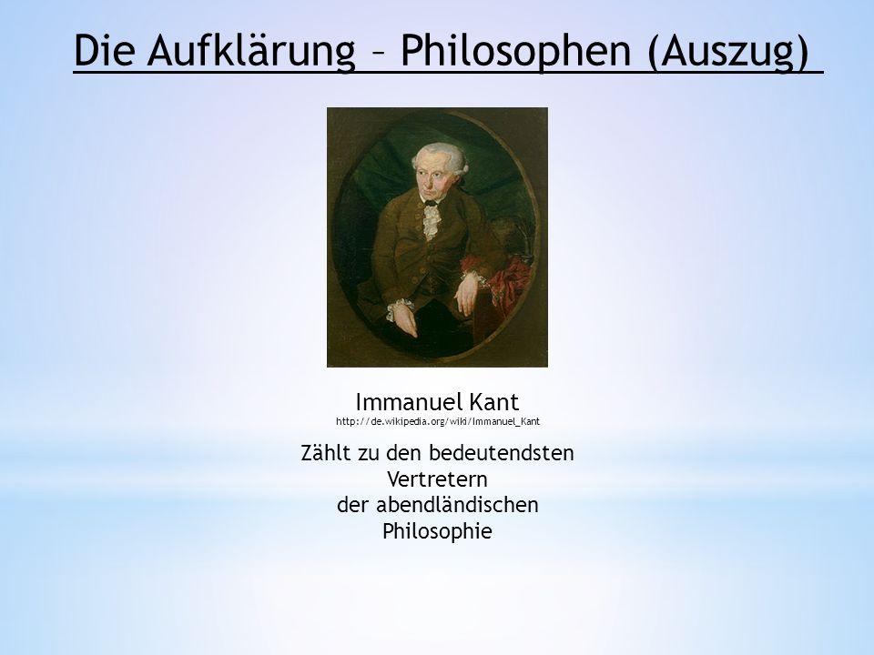 Die Aufklärung – Philosophen (Auszug)