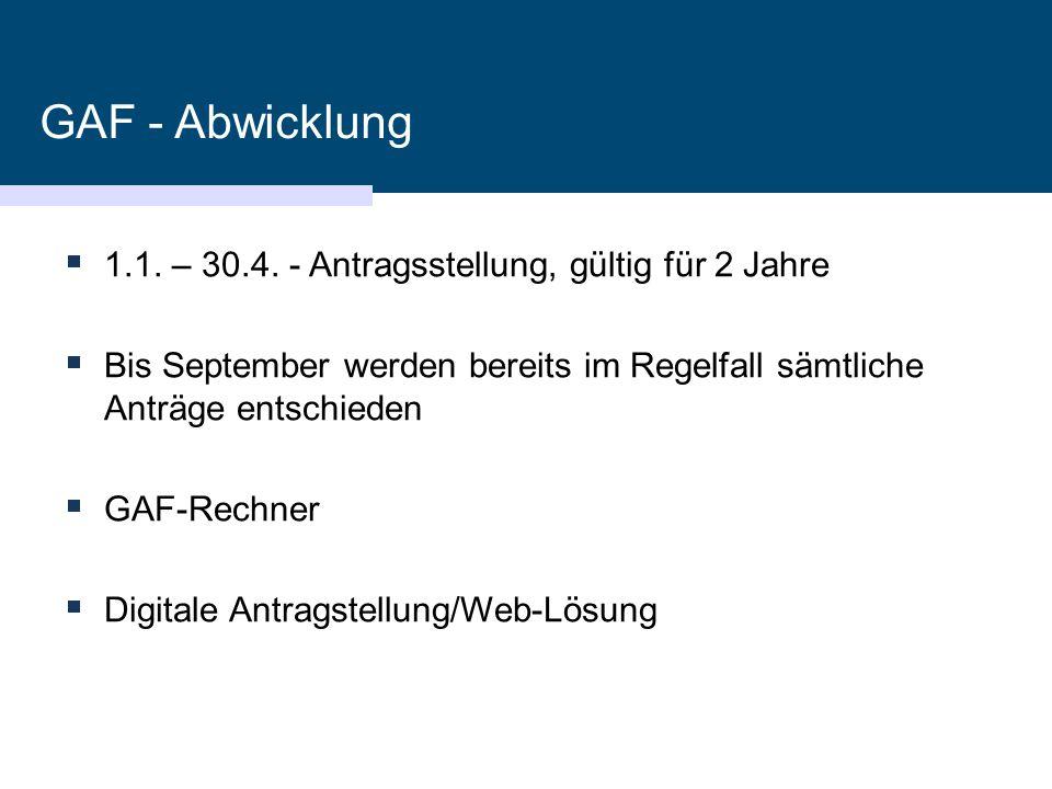 GAF - Abwicklung 1.1. – 30.4. - Antragsstellung, gültig für 2 Jahre