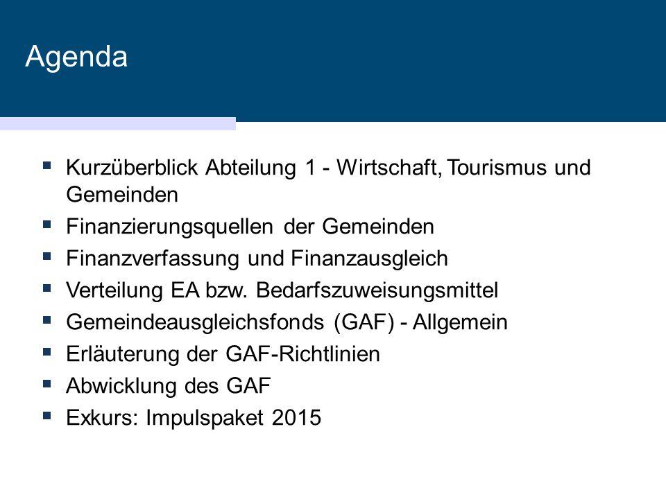Agenda Kurzüberblick Abteilung 1 - Wirtschaft, Tourismus und Gemeinden