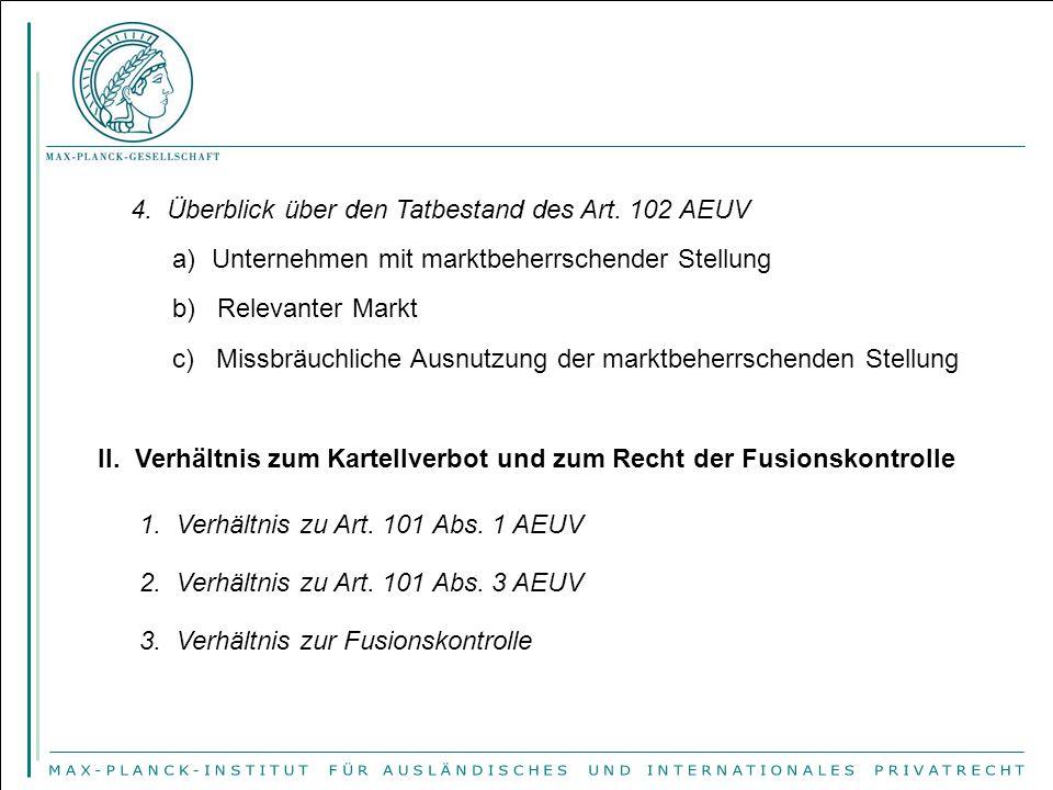 4. Überblick über den Tatbestand des Art. 102 AEUV