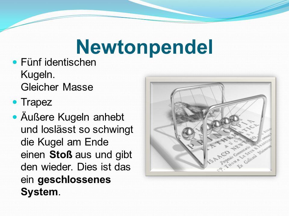 Newtonpendel Fünf identischen Kugeln. Gleicher Masse Trapez