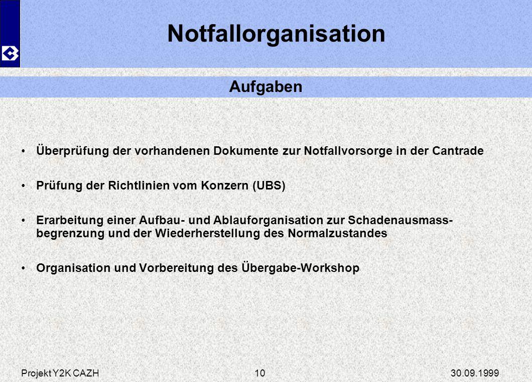 Notfallorganisation Aufgaben