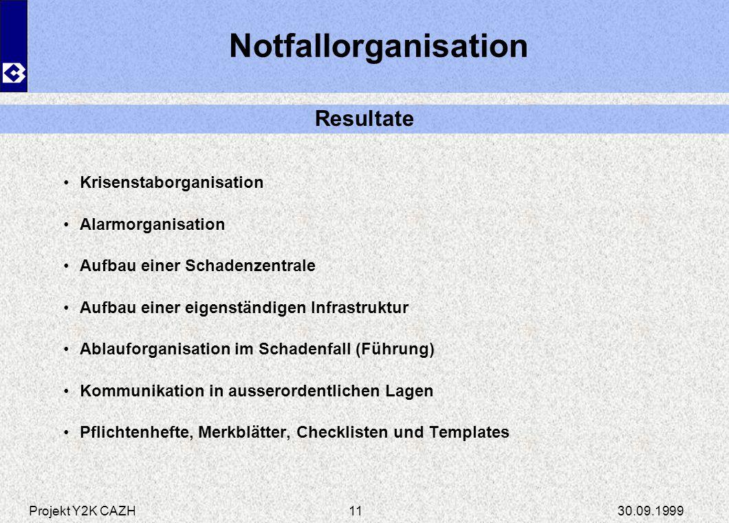Notfallorganisation Resultate Krisenstaborganisation Alarmorganisation