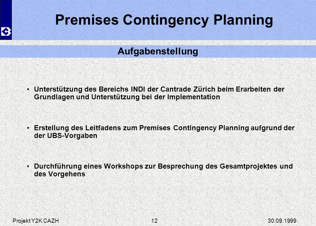 Premises Contingency Planning