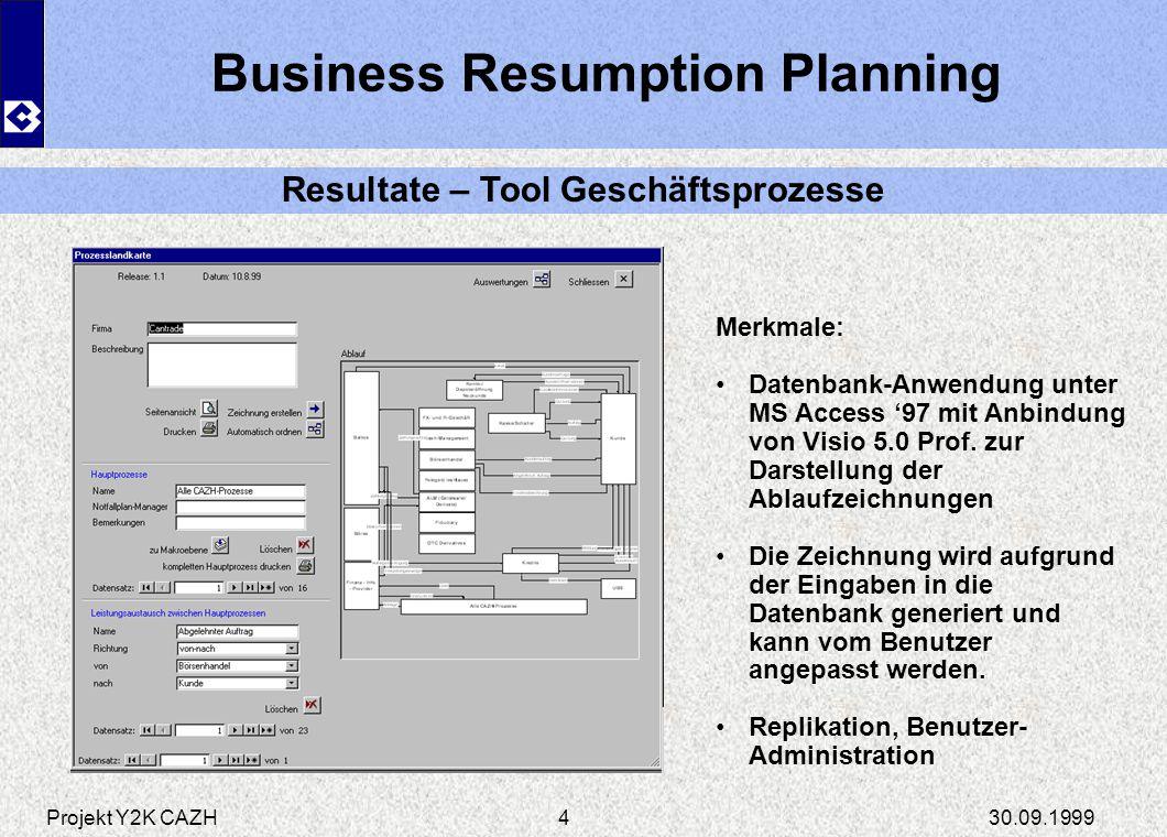 Business Resumption Planning Resultate – Tool Geschäftsprozesse