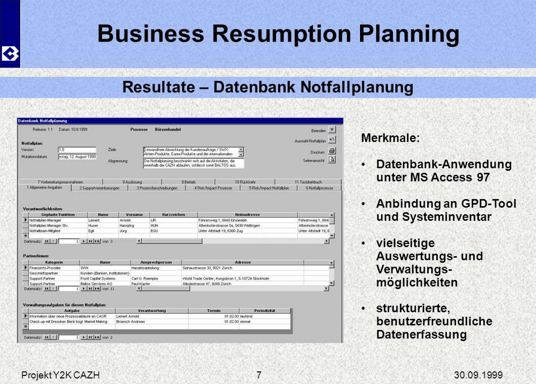 Business Resumption Planning Resultate – Datenbank Notfallplanung