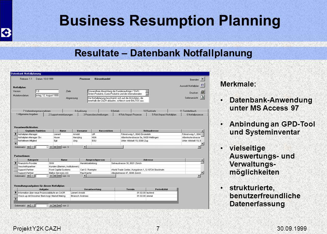 Business Resumption Planning Resultate – Datenbank Notfallplanung