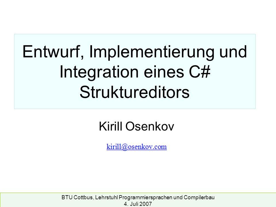 Entwurf, Implementierung und Integration eines C# Struktureditors