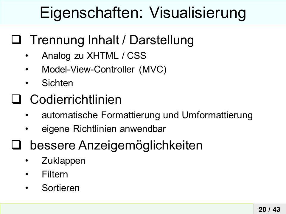 Eigenschaften: Visualisierung