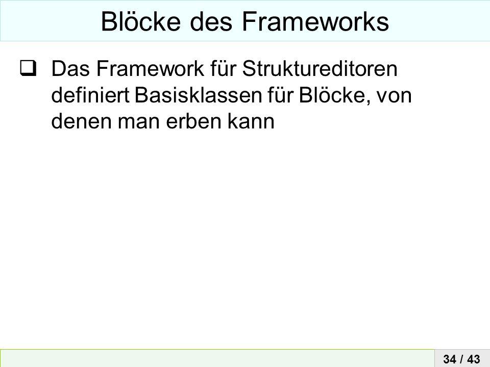 Blöcke des FrameworksDas Framework für Struktureditoren definiert Basisklassen für Blöcke, von denen man erben kann.