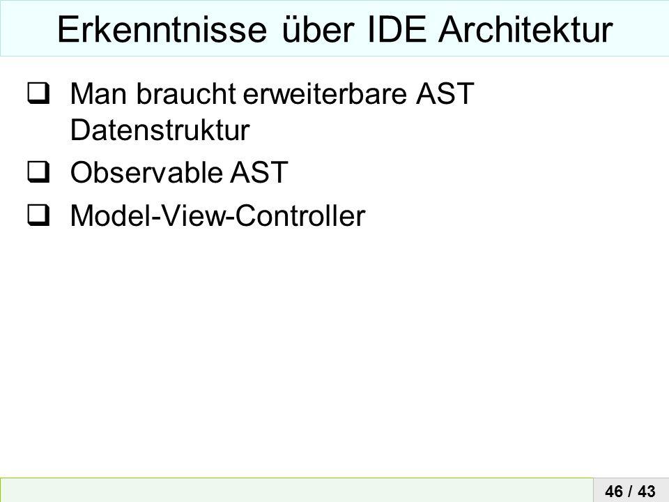 Erkenntnisse über IDE Architektur