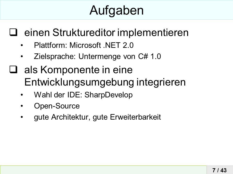 Aufgaben einen Struktureditor implementieren