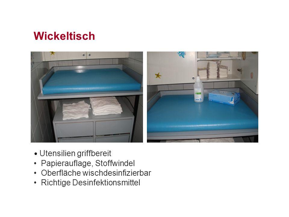 Wickeltisch Utensilien griffbereit Papierauflage, Stoffwindel