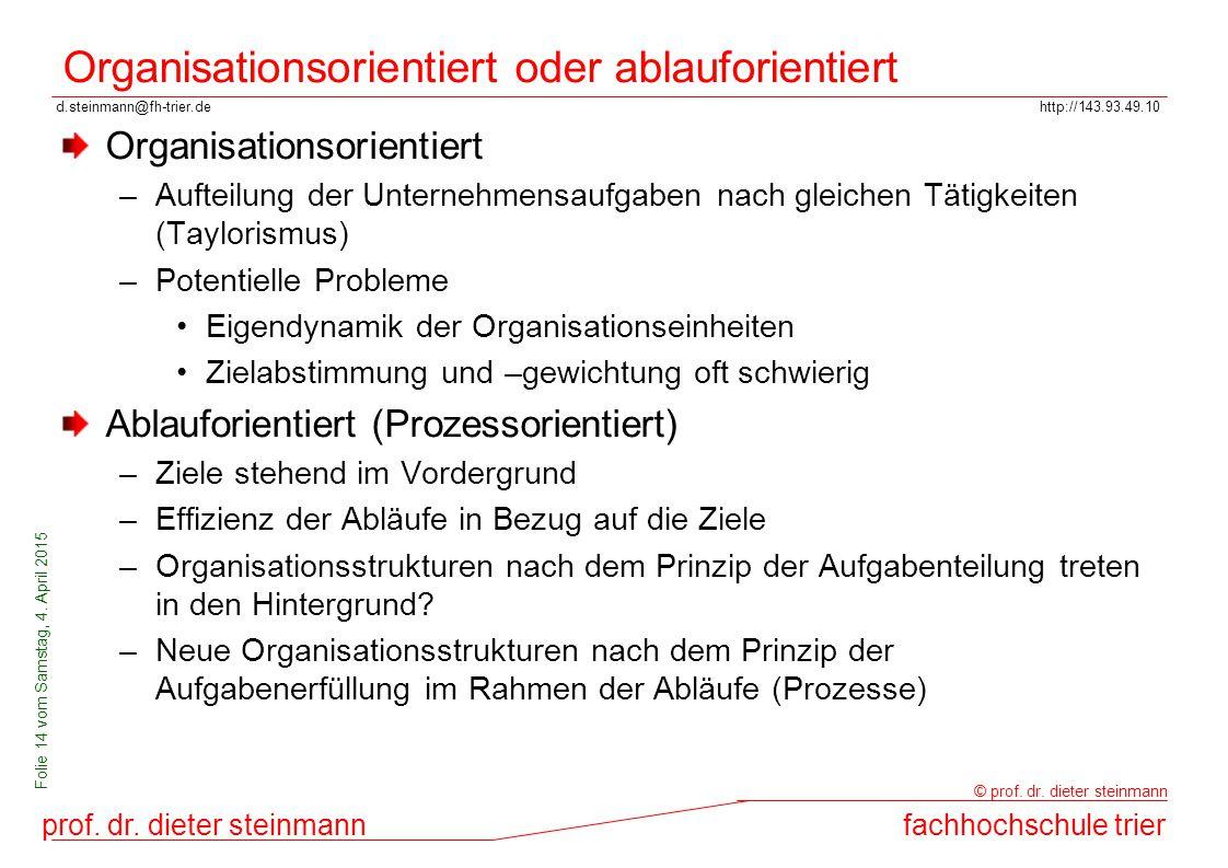 Organisationsorientiert oder ablauforientiert