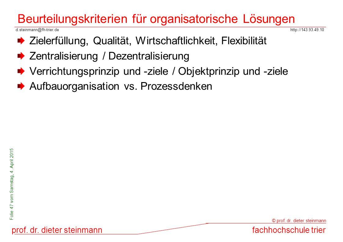 Beurteilungskriterien für organisatorische Lösungen