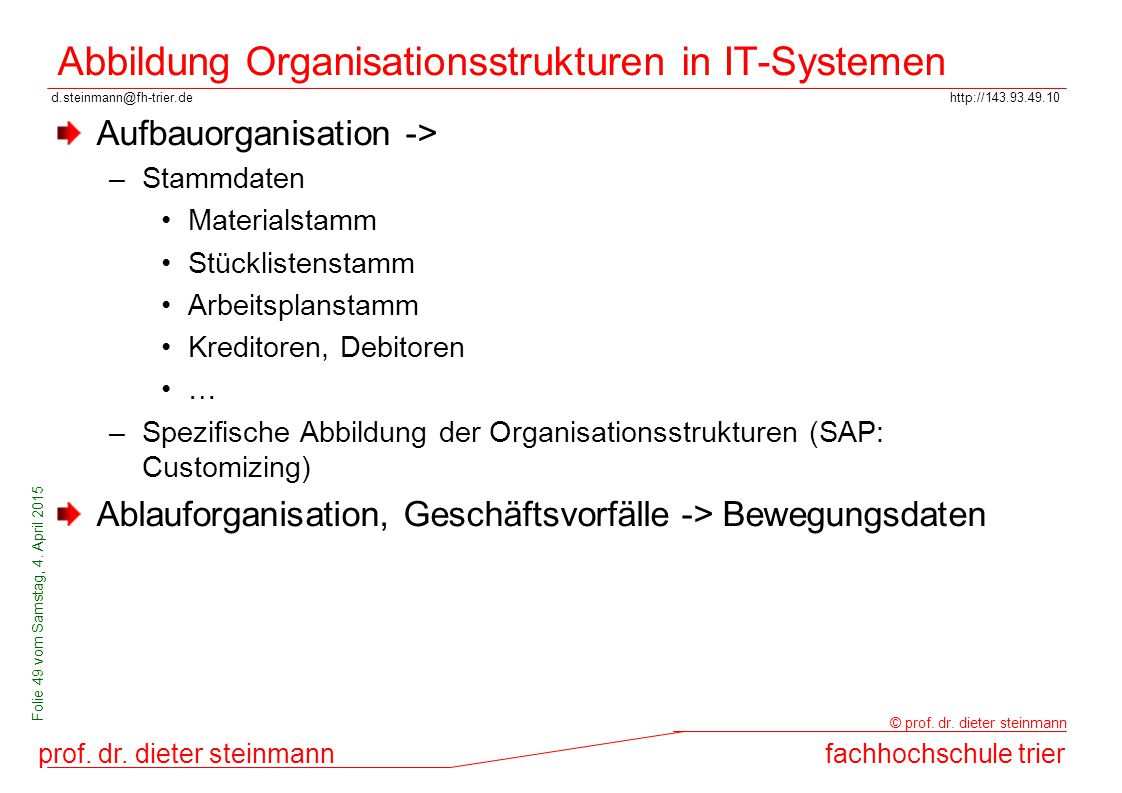 Abbildung Organisationsstrukturen in IT-Systemen