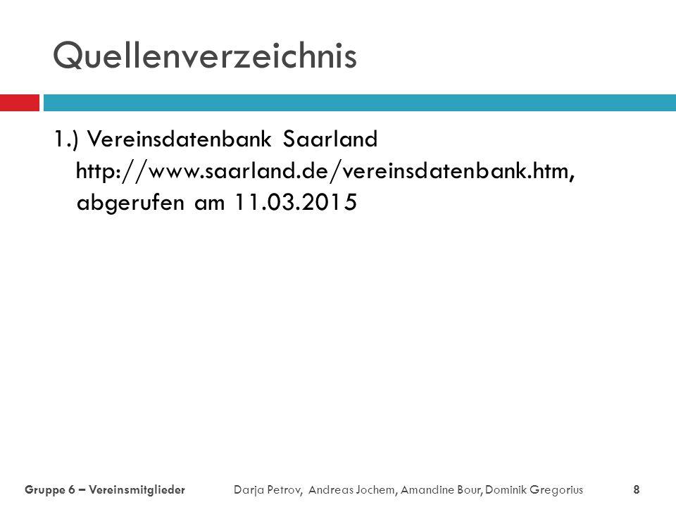 Quellenverzeichnis 1.) Vereinsdatenbank Saarland http://www.saarland.de/vereinsdatenbank.htm, abgerufen am 11.03.2015.
