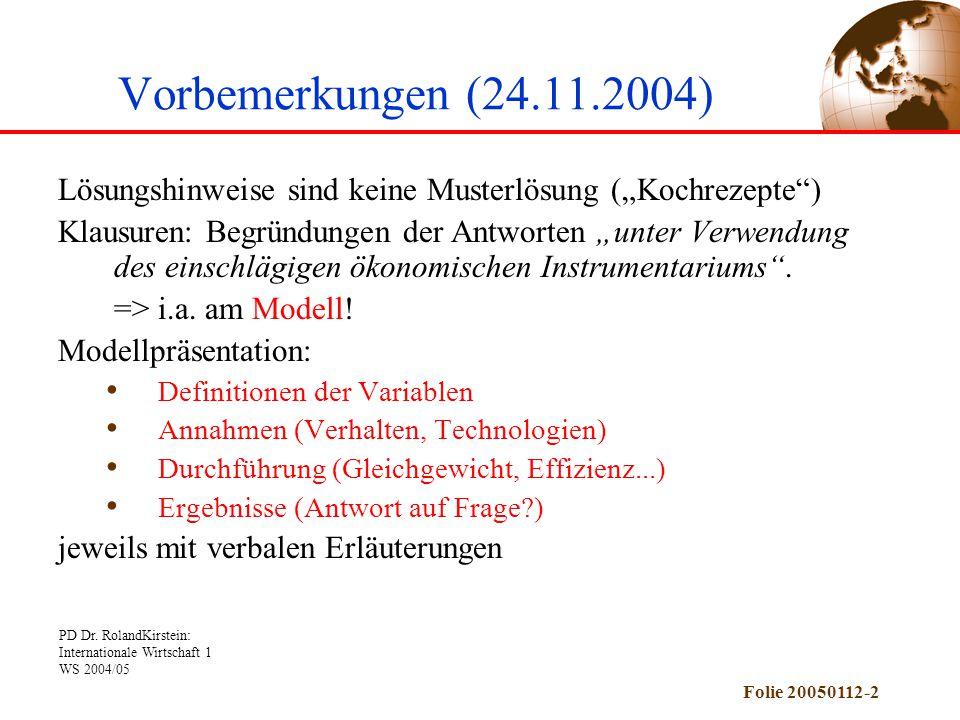 """Vorbemerkungen (24.11.2004) Lösungshinweise sind keine Musterlösung (""""Kochrezepte )"""