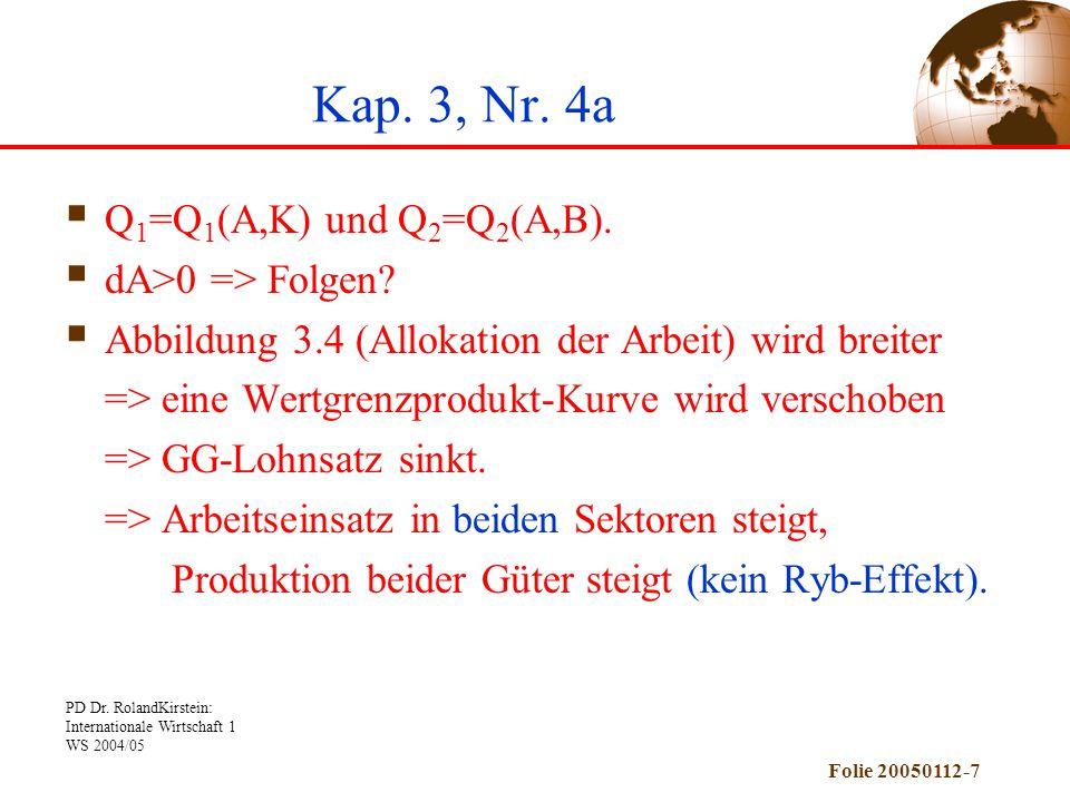 Kap. 3, Nr. 4a Q1=Q1(A,K) und Q2=Q2(A,B). dA>0 => Folgen