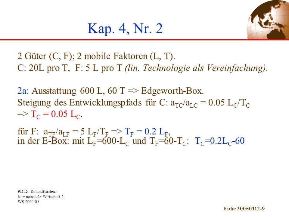 Kap. 4, Nr. 2 2 Güter (C, F); 2 mobile Faktoren (L, T).
