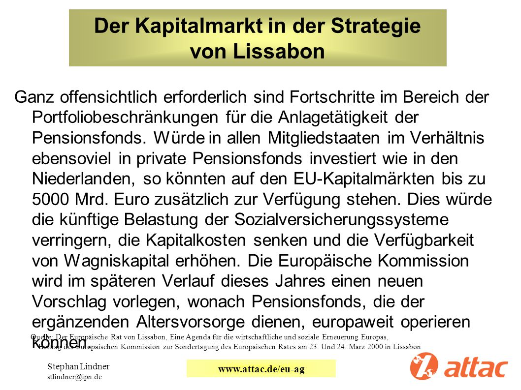 Der Kapitalmarkt in der Strategie von Lissabon