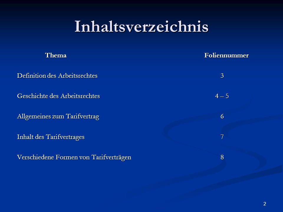 Inhaltsverzeichnis Thema Foliennummer Definition des Arbeitsrechtes 3