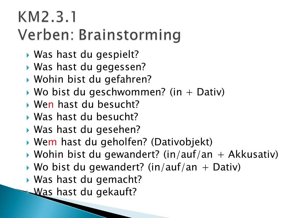 KM2.3.1 Verben: Brainstorming
