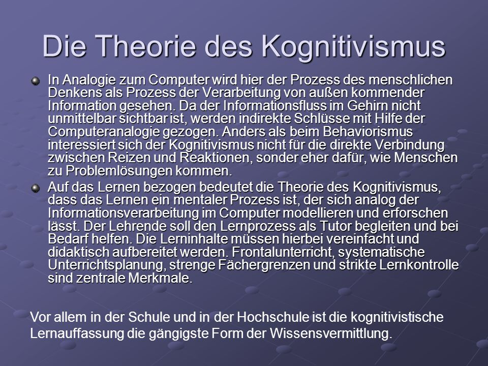 Die Theorie des Kognitivismus