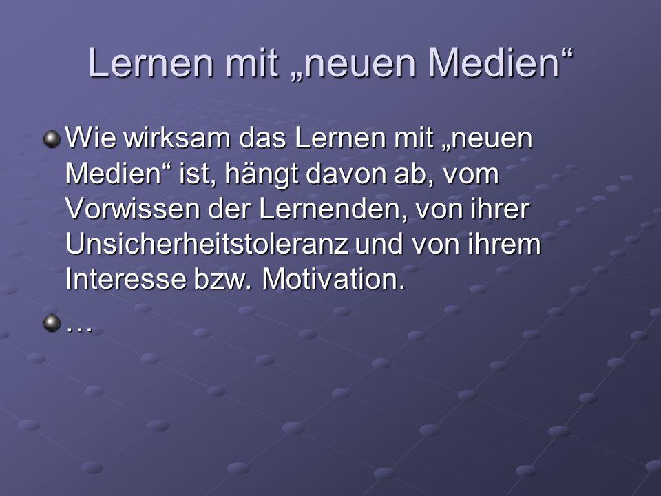 """Lernen mit """"neuen Medien"""